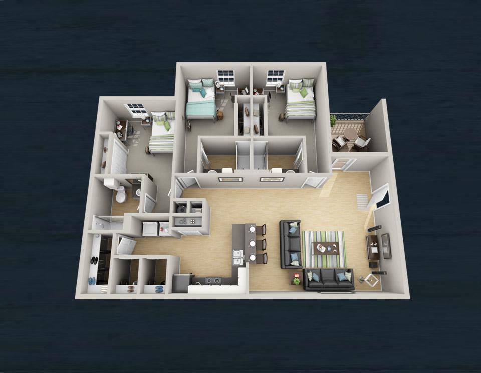three bedroom floorplans – the boulevard at tallahassee